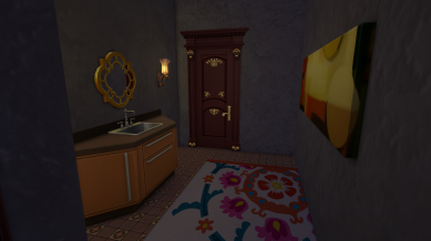 Shared bath with tub and shower behind the door and the toilet behind another door so multiple Sims can use it.