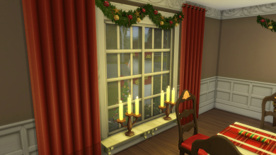 Dining room--candles on window sills in every front-facing window for a very festive look