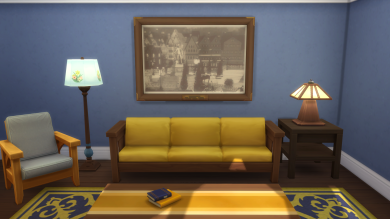 Living room. The first floor is primarily blue and gold.