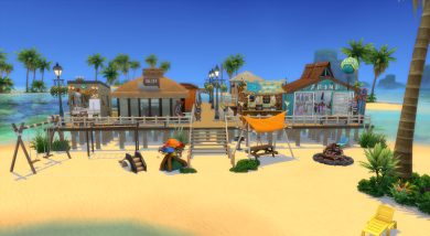 Boardwalk with shops and pier