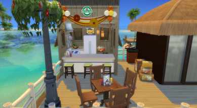 The greasy spoon (a kitchen so you can make a snack or a cake for a celebration--use the sink in the bar if needed)
