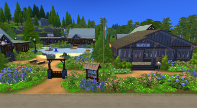 A closer look at the community building and entrance