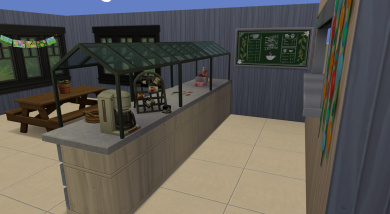 Kids can serve themselves from either side of the counter area.