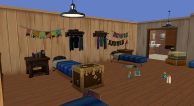 Upper floor with doctor and vet toys. Bathroom through the doorway.