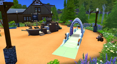 Waterslide and pirate ship.
