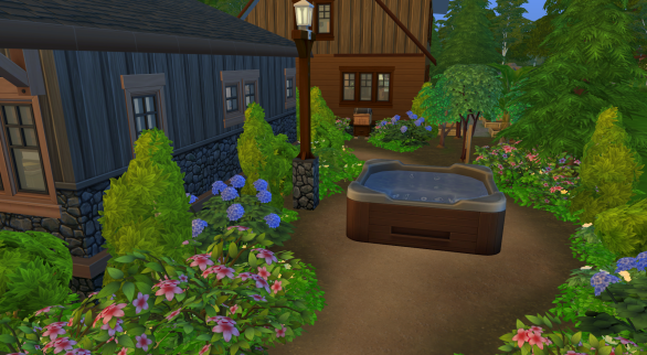 Hot tub to the right of the community building