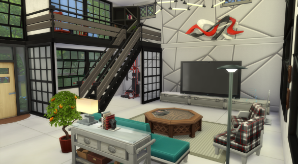 Living area with library loft