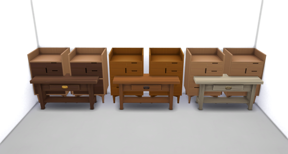 Mega Mission-style Furniture Wood Swatches Compared to Tiny Living Furniture Wood Swatches