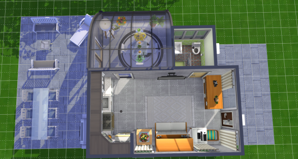 The room with the dining table is just a glass roof without a floor--the floor texture is applied directly to the ground (saw Zylria use this idea for a living room area). The patio is also texture directly on the ground.
